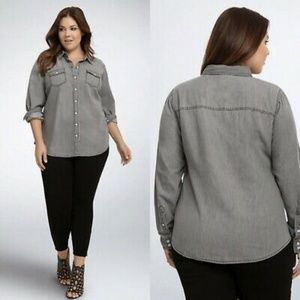 Torrid Taylor Grey Wash Denim Button Up Shirt  1X